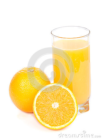 Glass of orange juice and slices of orange  on a white b
