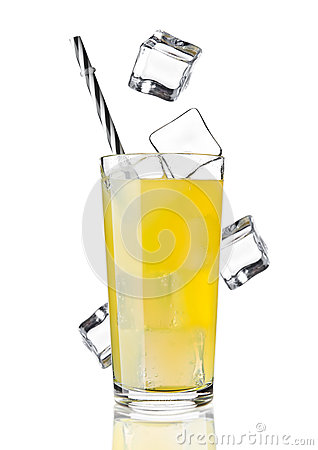 Glass of orange soda drink cold with ice cubes Stock Photo