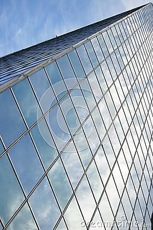 Glass panel of skyscraper