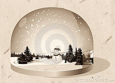 Glass paperweight, Christmas theme
