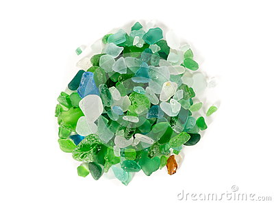 Glass pieces found in sea Stock Photo
