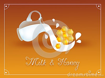 Glass pitcher with milk and honey