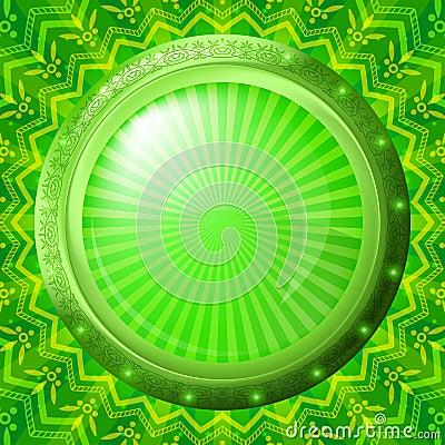 Glass porthole on green background