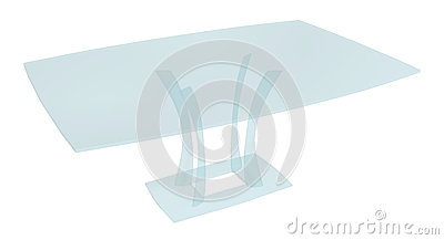 Glass rectangular coffee table, 3D illustration