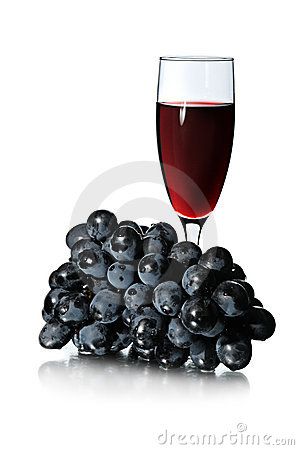 Glass of red wine and bunch