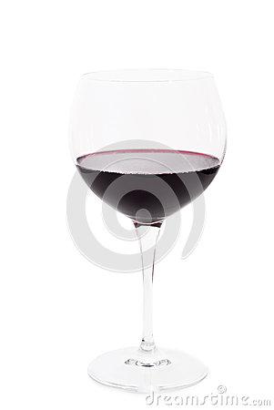Glass of red wine isolated