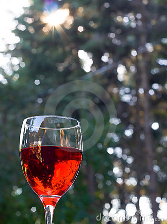 Glass of red wine outdoors with lens flare