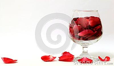 A glass of Rose petals