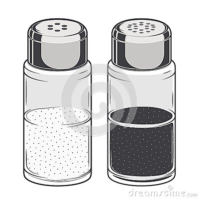 Free Glass Salt And Pepper Shakers Isolated On A White Background. Color Line Art. Retro Design. Royalty Free Stock Photography - 45017117