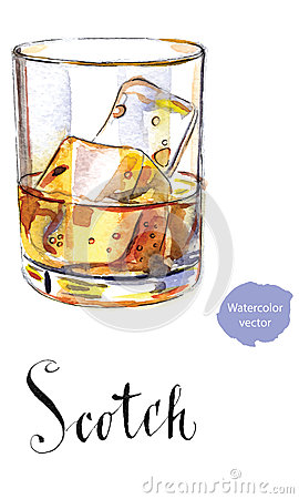 Glass of scotch whiskey brandy with ice cubes Vector Illustration