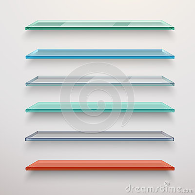 ... colored transparent glass wall shelves set vector illustration