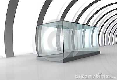 Glass showcase in grey room with columns