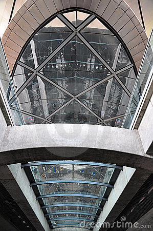 Glass and steel ceiling