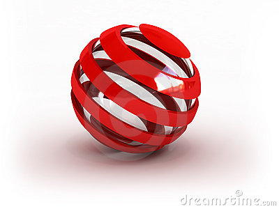 Glass striped red sphere