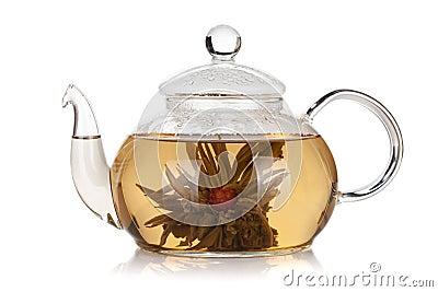Glass teapot of aroma tea