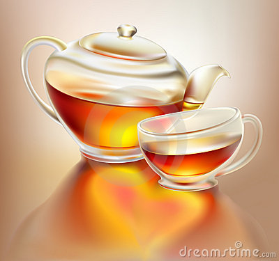 Glass teapot and cup with tea with love