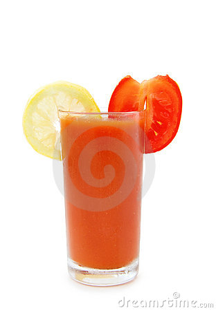 Glass of tomato juice with lemon