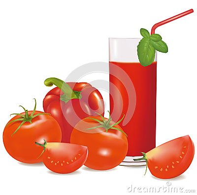 A glass of tomato juice, some tomatoes and basil.