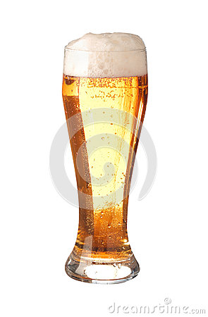 Glass of translucent frothy beer