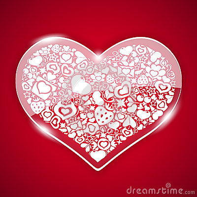 Free Glass Valentine Heart On Red Background Royalty Free Stock Photos - 49459878
