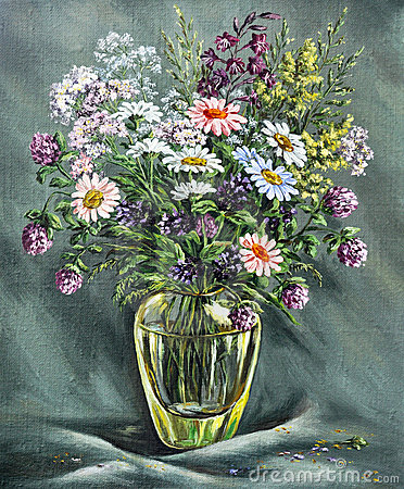 Glass vase with wild flowers