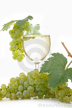 Glass of vine and grape