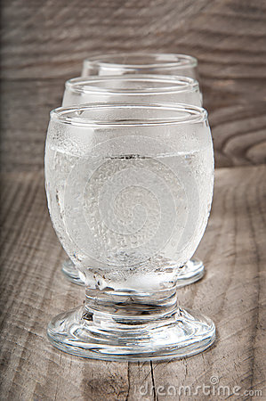 A glass of vodka