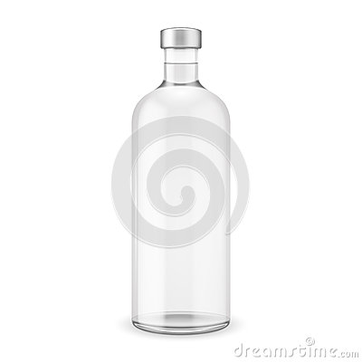 Free Glass Vodka Bottle With Silver Cap. Royalty Free Stock Photography - 34438407