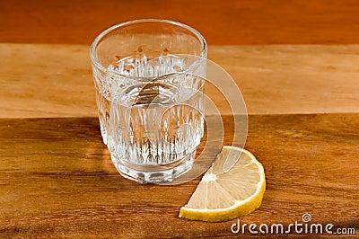 Glass of vodka and   lemon