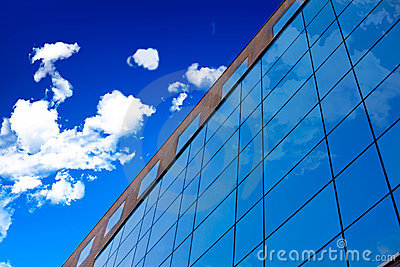 Glass wall of office building.
