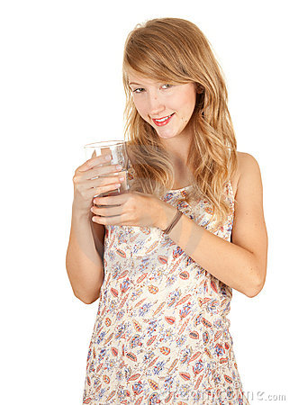 Glass of water and attractive girl