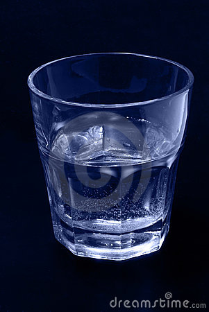 Glass of water blue tinted