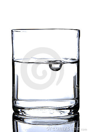Glass with water and bubble