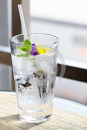 Glass of water with Garnish