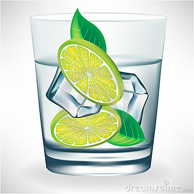 Glass of water with ice and lemon