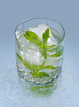 Glass with water ice and mint