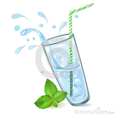 Glass of water with ice and mint