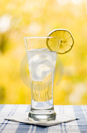 Glass with water lemon and ice