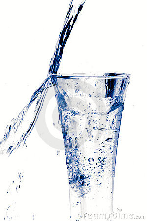 Glass of water on white