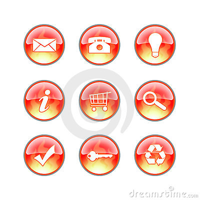 Free Glass Website Fire Icons Royalty Free Stock Image - 2133706
