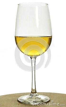 Glass of white chardonnay wine