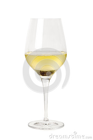 Glass of White Wine Isolated