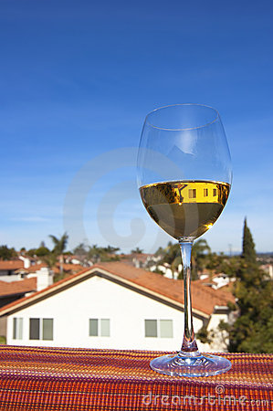 Glass of white wine and a Southern California view
