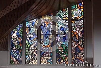 Glass Windows in Monserrate Church Bogota Colombia