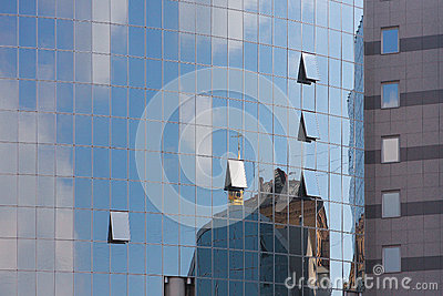 Glass windows of new buildings in Kiev