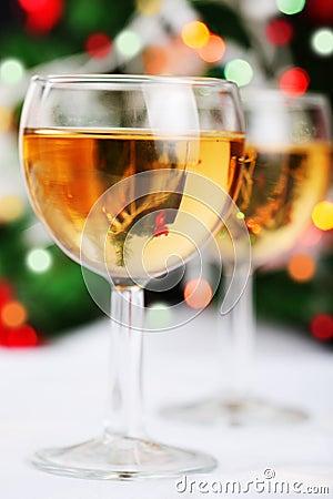 Glass of wine and blurred christmas lights