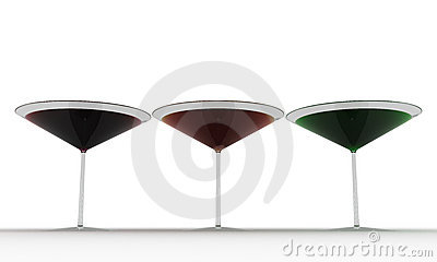 Glass wine glasses with colored liquid №3