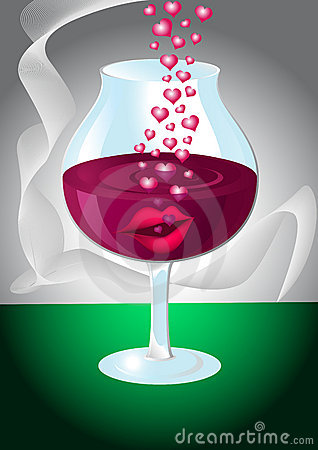 Glass of wine with lips and hearts