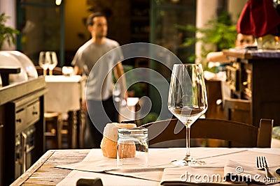 Glass wine on restaurant table