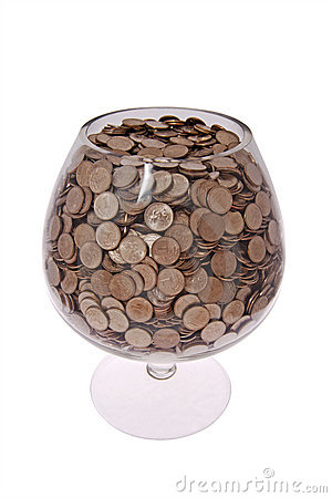 Free Glass With Money Royalty Free Stock Images - 6942069